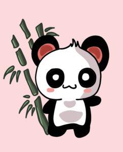 dibujo oso panda kawaii
