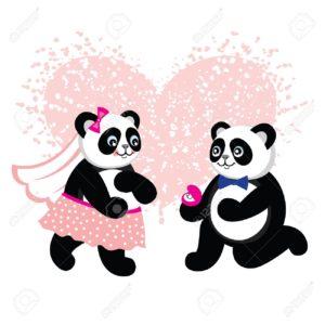 imagenes kawaii de pandas enamorados