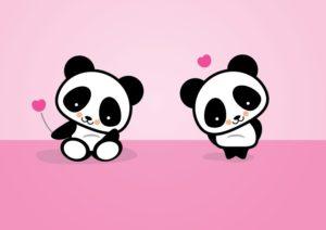 pandas kawaii enamorados