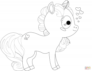 unicornio bonito a lápiz