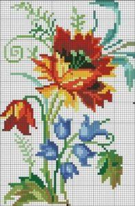 Imágenes de punto de cruz de flores bonitas