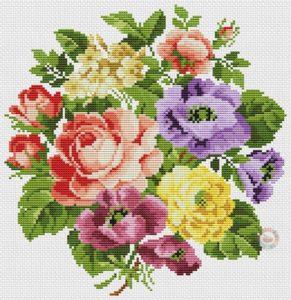 Imágenes de punto de cruz de flores bonitas gatis