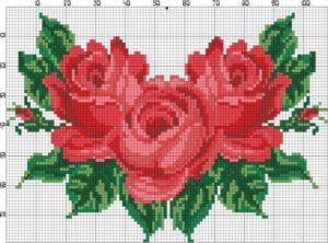 Imágenes de punto de cruz de flores bonitas para imprimir