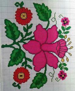 punto de cruz en flores