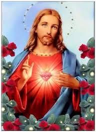 Imágenes del Sagrado corazón de Jesús con flores
